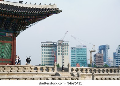 Emperor palace and modern buildings in Seoul. South Korea