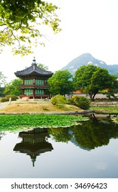 Emperor palace at Seoul. South Korea. Lake. Mountain. Reflections