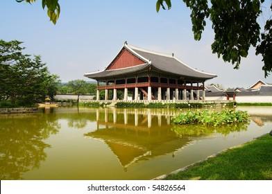 Emperor palace at Seoul. South Korea. Lake. Building. Reflections
