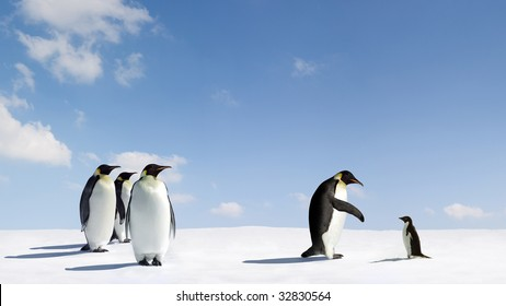Emperor penguin reaches out to Adelie penguin