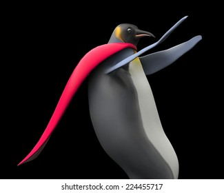 Emperor penguins , cartoon penguins , 3d super hero render penguin