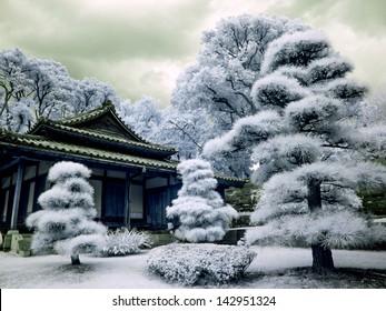 Emperor's Imperial Garden Tokyo. Infrared.