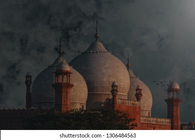 The Emperors Mosque - Badshahi Masjid With Beautiful Cloudy Background.