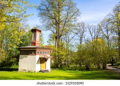 Emperor's outhouse and Traskanda Manor (Aurora Park) view in spring, Espoo, Finland