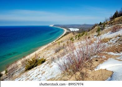 Empire Bluff , Sleeping Bear Dunes National Lake shore in Winter