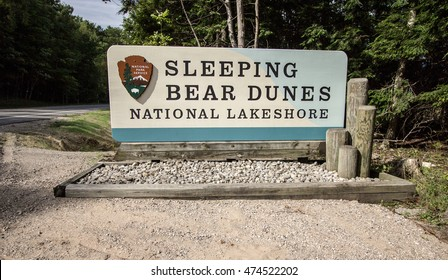 Empire, Michigan, USA - August 23, 2016: Entrance sign to the Sleeping Bear Dunes National Lakeshore. The national park is located along the coast of Lake Michigan in the state of Michigan.