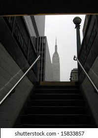 Empire State Building in New York, photo taken from metro station