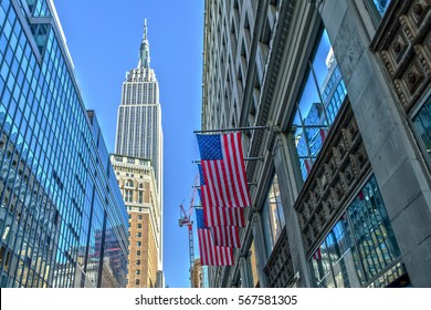 Empire State Building and US Flag