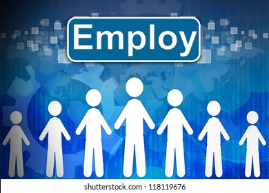 Employ ,Business concept in word Human resources