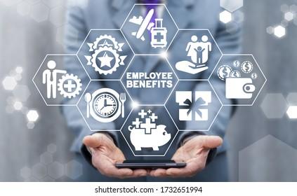 Employee Benefits Career Concept. Business Bonus Work Perks.