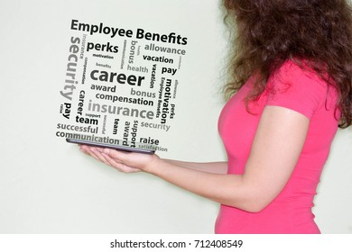 employee benefits concept. girl in red holding a tablet.