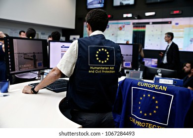 An employee checks the monitors in control centre of the Emergency Response Coordination Centre (ERCC) in Brussels, Belgium on Jun. 19, 2017