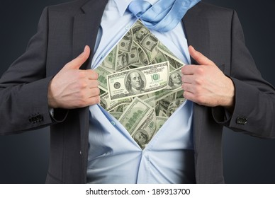 Employee and dollar chest