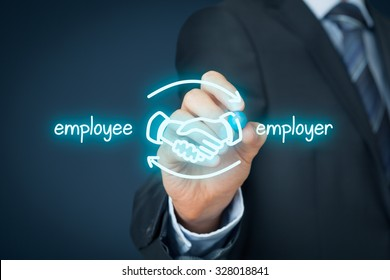 Employee and employer balanced cooperation concept. Businessman (human resources officer) draw scheme with hand shaking of employee and employer.