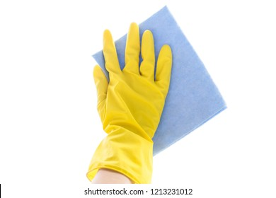 Employee hand in rubber protective glove with microfiber rag Wapping white table, wall or floor surface in room, bathroom, kitchen. Early spring or regular cleanup. Commercial cleaning company concept