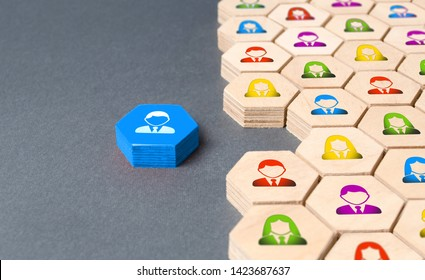 An employee is preparing to join a business team or company. Hexagons. Recruiting new employees and replacing departed. Personnel Management. Business process, logical structure, perfectionism.