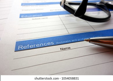 Employee references heading, application for employment