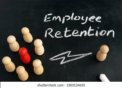 Employee Retention. Wooden figurines on a blackboard.