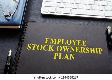Employee Stock Ownership Plan (ESOP) on a desk.