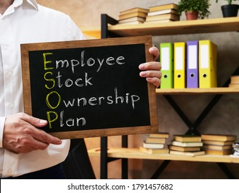 Employee Stock Ownership Plan ESOP is shown on the conceptual business photo