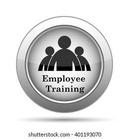 Employee training icon. Internet button on white background.