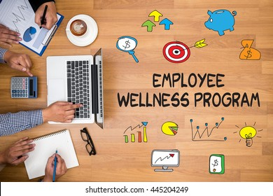 Employee Wellness program Business team hands at work with financial reports and a laptop