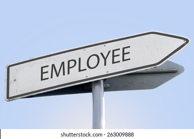 EMPLOYEE word on road sign