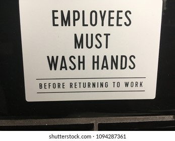 Employees Must Wash Hands Before Returning to Work Sign-Employees Must Wash Hands Sign