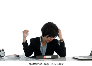 Employees to think and not work with stress on white background.