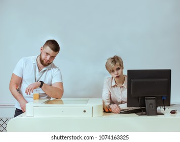 Employees waiting for customers