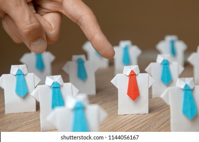 Employer chooses points with finger employee. Leader stands out from the crowd. Looking for a good worker. HR, HRM, HRD concepts