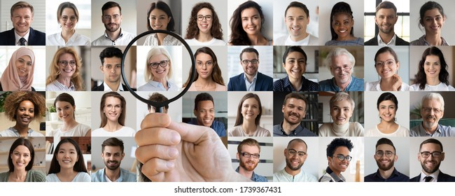 Employer hand holding magnifying glass choosing old middle aged female candidate among young multiethnic professional people faces collage. Human resource, headhunting, senior job opportunity concept.