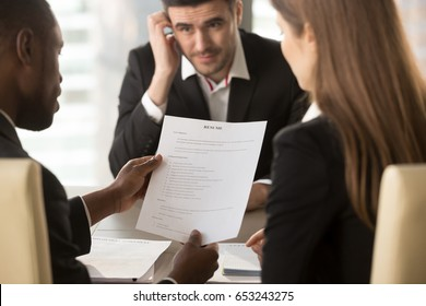 Employers or recruiters holding reviewing bad poor cv of unemployed worried nervous applicant waiting for result, employment and recruitment concept, rejected job application, failed interview