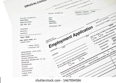 Employment application with a drug abuse panel lab report isolated on white