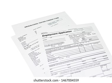 Employment application with a drug, alcohol test consent form isolated on white
