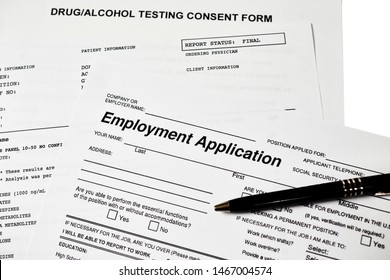 Employment application with a drug, alcohol test consent form and drub abuse panel lab report isolated on white