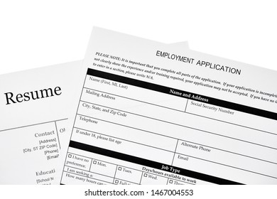 Employment application with a resume isolated on white