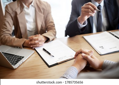 Employment concept, Employer recruiter with candidate with resume in job interview.