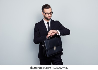 Employment executive handbag lawyer politician people style leadership concept. Stylish punctual impatient smart responsible rich luxurious elegant classic classy man isolated on gray background