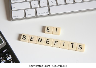 Employment Insurance Conceptual Title. Top view of Connected Letters Game. - Shutterstock ID 1850916412