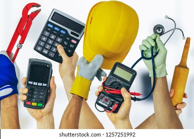 employment job search - group of various profession workers with tools in hands
