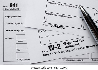 Employment tax forms filed in the United States of America: 941, 1099, and W-2