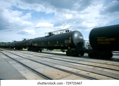 Emporia, Kansas, USA, 14th May, 2014  Burlington Northern Sante Fe train with some of the five thousand oil tank cars that Warren Buffett purchased to transport oil from the Bakken Shale oil flieds
