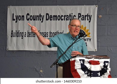 Emporia, Kansas, USA, July 21, 2019 Former Kansas Governor John Carlin is the keynote speaker at the Annual Lyon County Democratic picnic and fundraiser Carlin spoke about the need to expand medicaid