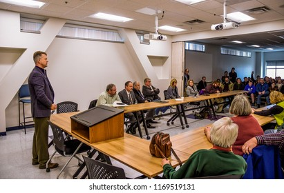 Emporia Kansas, USA, March 11, 2017.  Republican Congressman Roger Marshall of Kansas holds a town hall meeting at Newman Regional Health Hospital, focusing on health care issues.