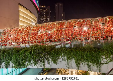 Emporium Shopping mall,Sukhumvit Road,Bangkok,Thailand on December 18,2018:Decoration with beautiful red balls at the entrance during Christmas and New Year Festival