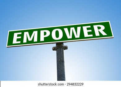EMPOWER word on green road sign