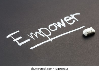 Empower word topic on chalkboard