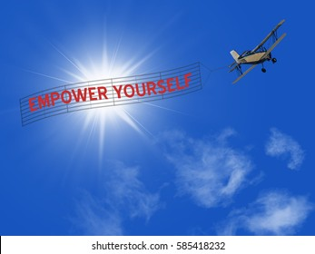 Empower Yourself banner pulled by plane on sky background