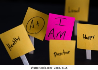 empowering self help message with the words I am in focus and all around it in and out of focus other positive thoughts and words